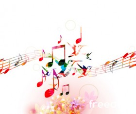 Notes and butterflies music background vector 13