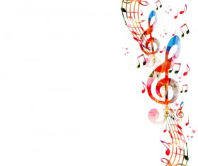 Notes and butterflies music background vector 14