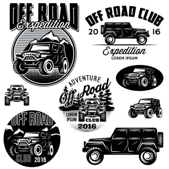 Off road club logos creative vector