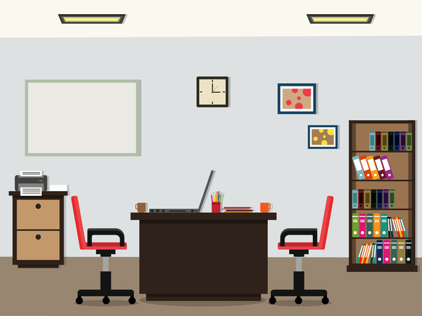Office flat styles background vector 02 vector for Office design vector
