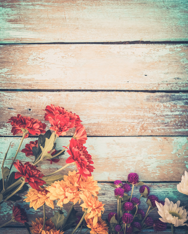 Old Wooden Background Flowers Stock Photo 02 Free Download