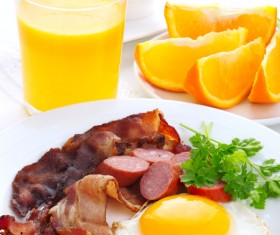 Omelette with bacon with sausage Stock Photo