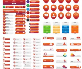 Orange Services business button set vector