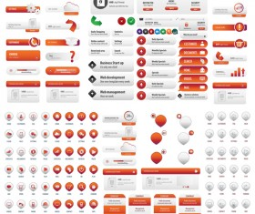 Orange User buttons vector material