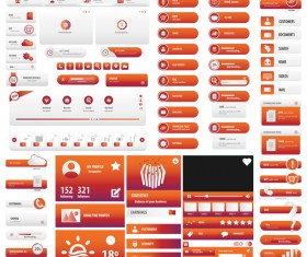 Orange red user interface button set vector
