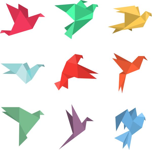 Orgami birds vector design 01