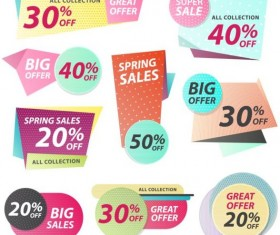 Origami big offer banners vector