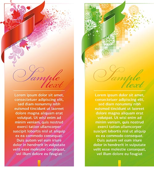 Ornate vertical banner with ribbon vector 01