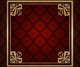Ornate vintage pattern with deco frame vector material 08