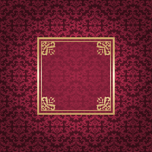 Ornate vintage pattern with deco frame vector material 12