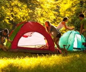 Outdoors together tents men and women HD picture