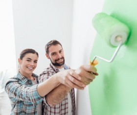 Paint the green walls of the couple Stock Photo