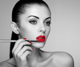 Painted red lipstick girl HD picture 01
