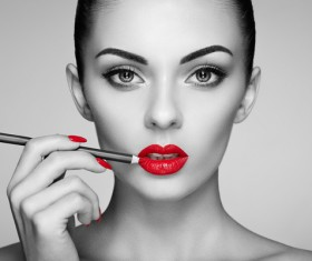 Painted red lipstick girl HD picture 02