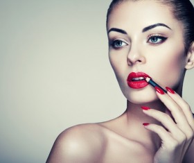 Painted red lipstick girl HD picture 03