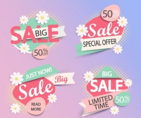 Paper big sale labels with flower vector
