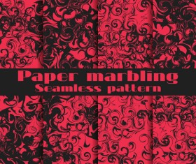 Paper marbling seamless pattern vector set 02