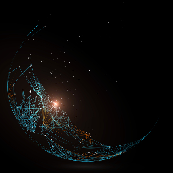Particles and lines with sphere background vector 01