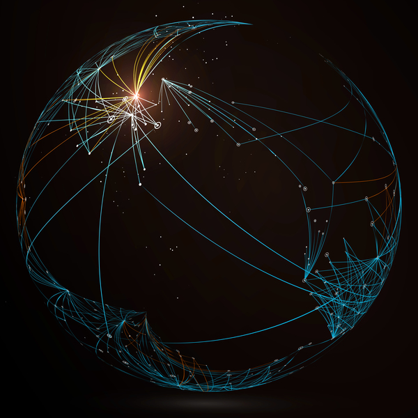 Particles and lines with sphere background vector 06