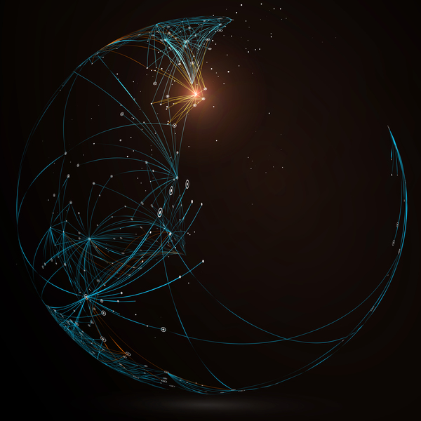 Particles and lines with sphere background vector 07