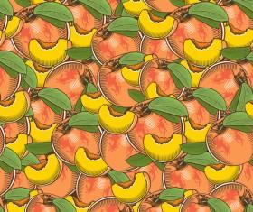 Peach seamless hand drawn vector