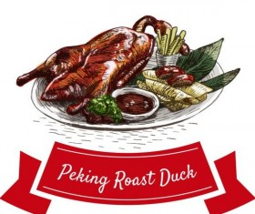 Peking roast duck chinese cuisine vector