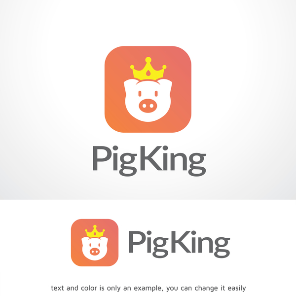 Pig King logo design vector