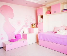 Pink girl house view Stock Photo
