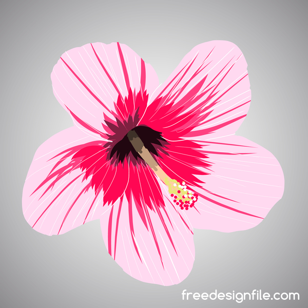 Pink tropical flowers vector material 02