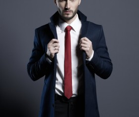 Playing red tie handsome man Stock Photo 01