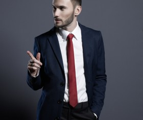 Playing red tie handsome man Stock Photo 02