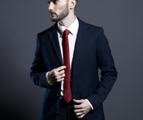 Playing red tie handsome man Stock Photo 04