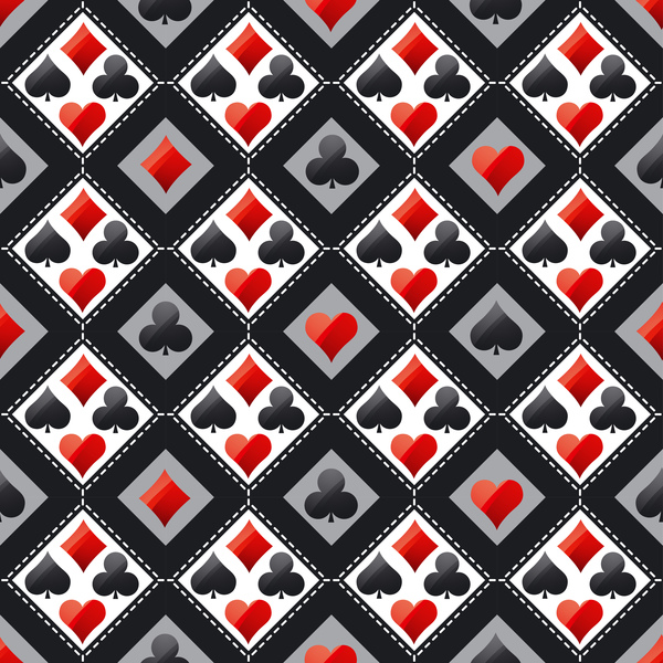 Poker sign seamless pattern vector set 03