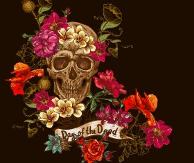 Poppy flower with skull vector background 01