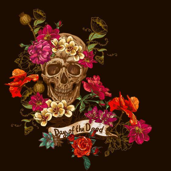 Poppy flower with skull vector background 01