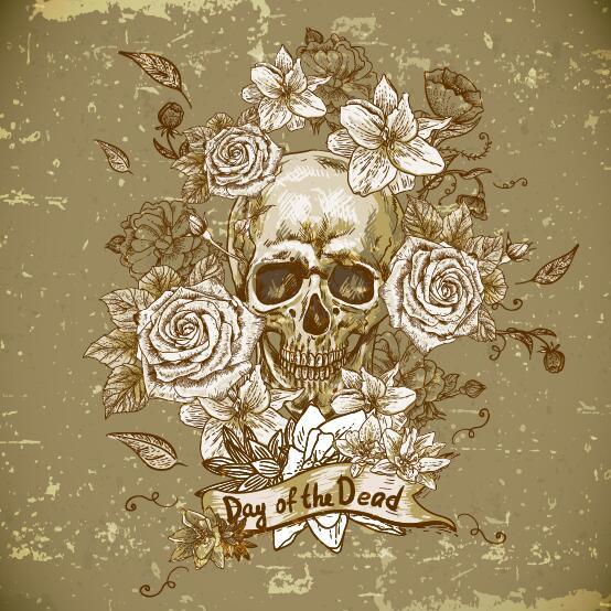 Poppy flower with skull vector background 02