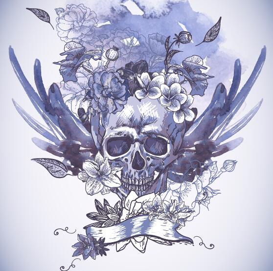Poppy flower with skull vector background 03