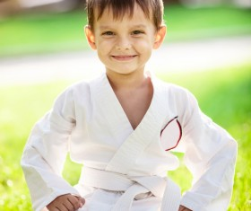 Practicing taekwondo little boy HD picture