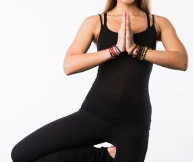 Practicing yoga girl Stock Photo