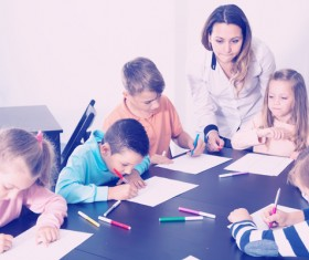 Primary school teachers and students Stock Photo 12