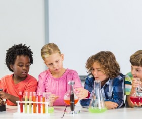 Pupils do chemistry experiments Stock Photo 07