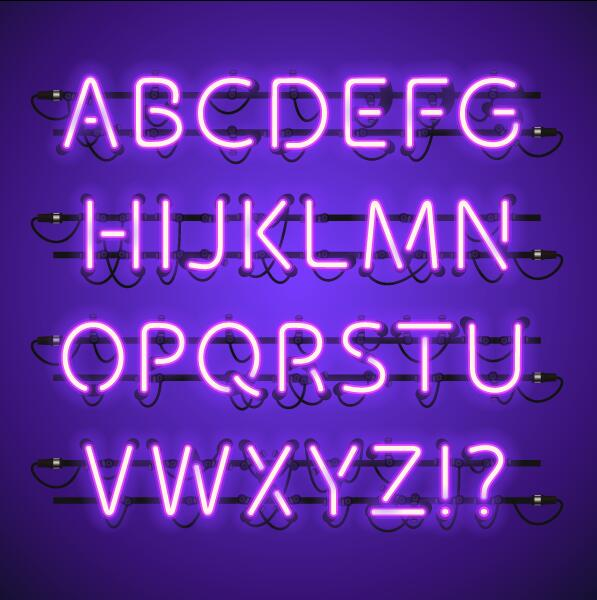 Purpel neon alphabet with number vector material