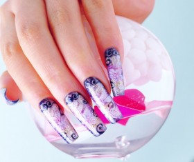 Purple Elegant Nail Stock Photo