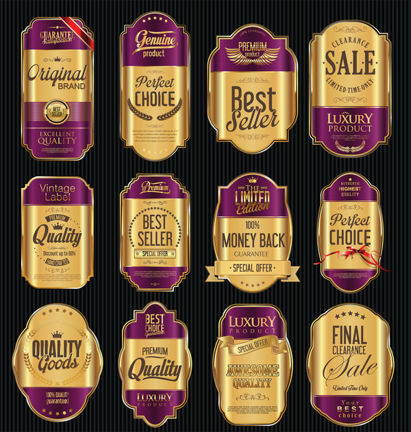 Purple and golden luxury labels vector