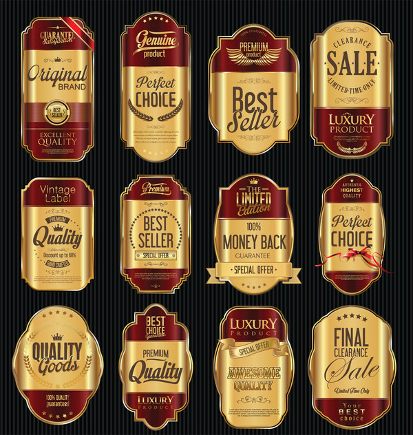 Red and golden luxury labels vector