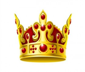 Red gem with golden crown vector 01