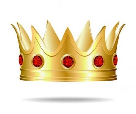 Red gem with golden crown vector 02