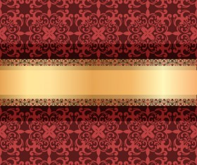 Red luxury decoration with gold ribbon background vector 01