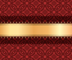 Red luxury decoration with gold ribbon background vector 02