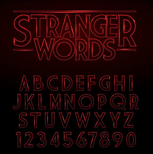 Red neon alphabet with number vector